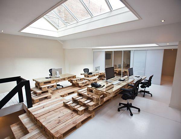Oficina Realizada Con Palets Mobiliario De Oficinas - Mobiliario-con-palets